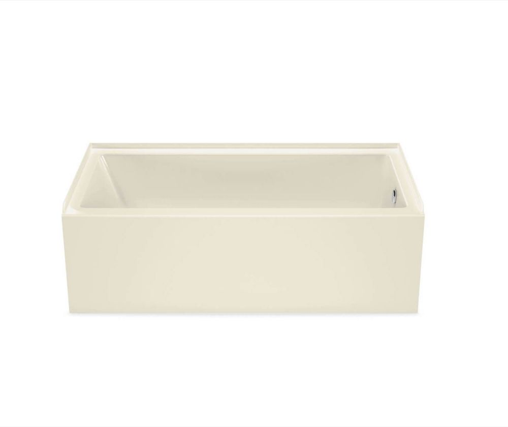 Bosca 60 inch x 30 inch Rectangular Alcove Bathtub with Right Drain in Bone
