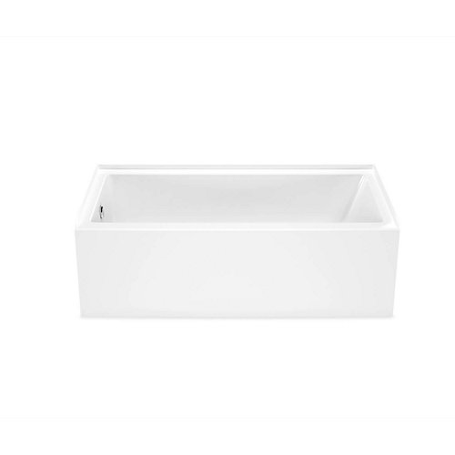 Bosca 60 inch x 30 inch Rectangular Alcove AFR Bathtub with Left Drain in White