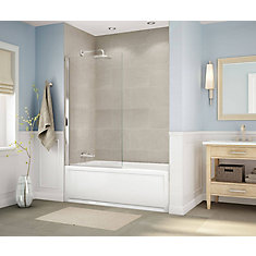 Axial Square 34 inch x 58 inch Frameless Fixed Tub Door in Brushed Nickel