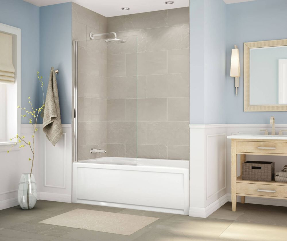 MAAX Axial Square 34 inch x 58 inch Frameless Fixed Tub Door in Brushed Nickel
