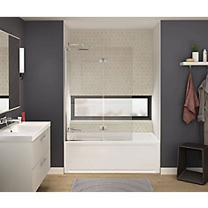 Axial Duo 42 inch x 58 inch Frameless Fixed Tub Door in Chrome