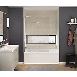 MAAX Axial Duo 42 inch x 58 inch Frameless Fixed Tub Door in Brushed Nickel