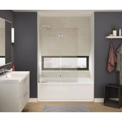 MAAX Axial Duo 42 inch x 58 inch Frameless Fixed Tub Door in Brushed Nickel