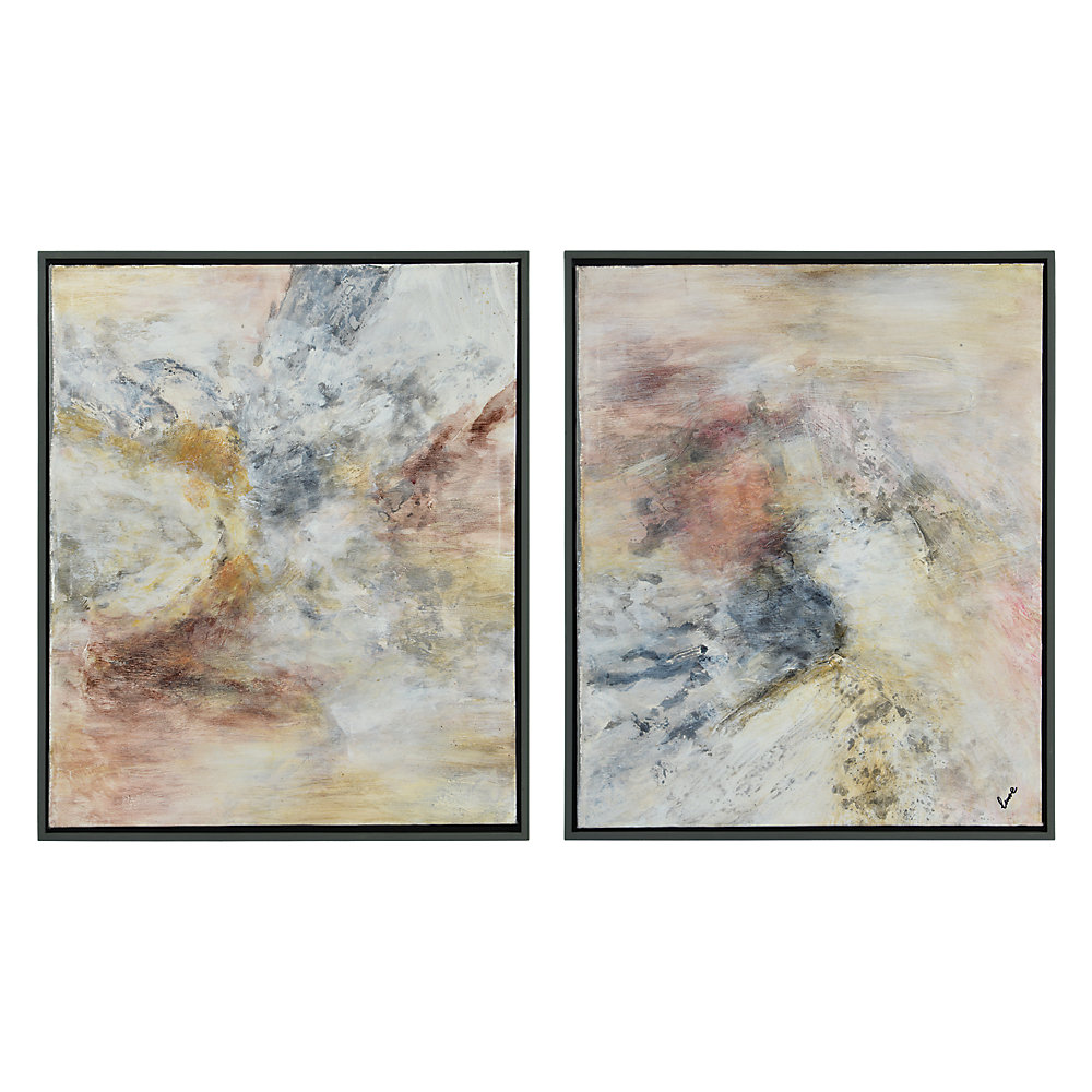 25-inch x 21-inch Astrid by Lune Framed Hand Painted Canvas Wall Art (2-Piece)