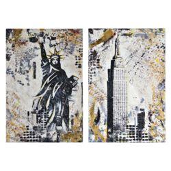 Notre Dame Design 37-inch x 25-inch Gotham by Glay Unframed Printed Canvas Wall Art (2-Piece)