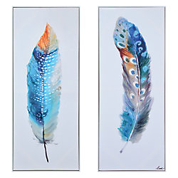 Renwil 19-inch x 47-inch Plume by Lune Framed Printed Canvas Wall Art (2-Piece)