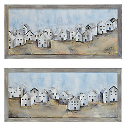 Renwil 17-inch x 37-inch Village by Glay Framed Hand Painted Canvas Wall Art (2-Piece)