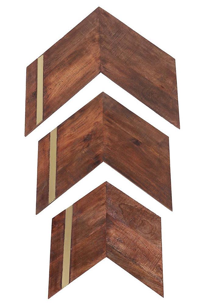23 Inch X 24 Inch Mango Wood And Iron Nolan Wall Art 3 Piece