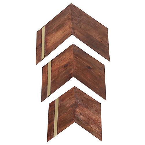 23-inch x 24-inch Mango Wood and Iron Nolan Wall Art (3-Piece)