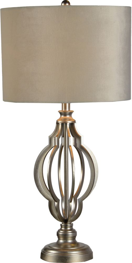 Renwil Everton 15-Inch Champagne Silver Leaf Table Lamp With Velvet Shade