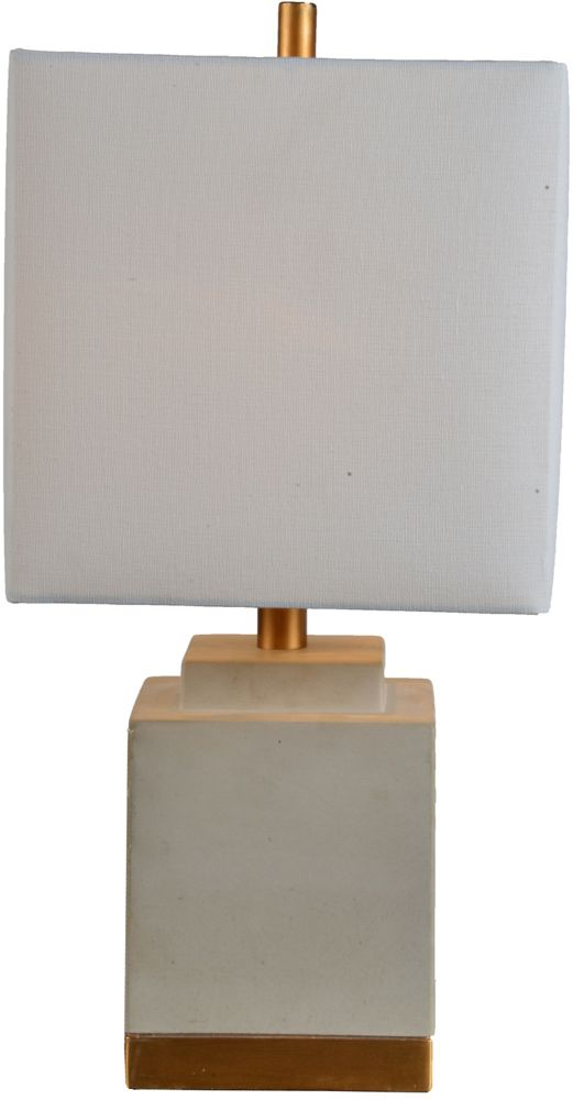Renwil Brighton 10-Inch Gray and Gold Table Lamp With Linen Shade