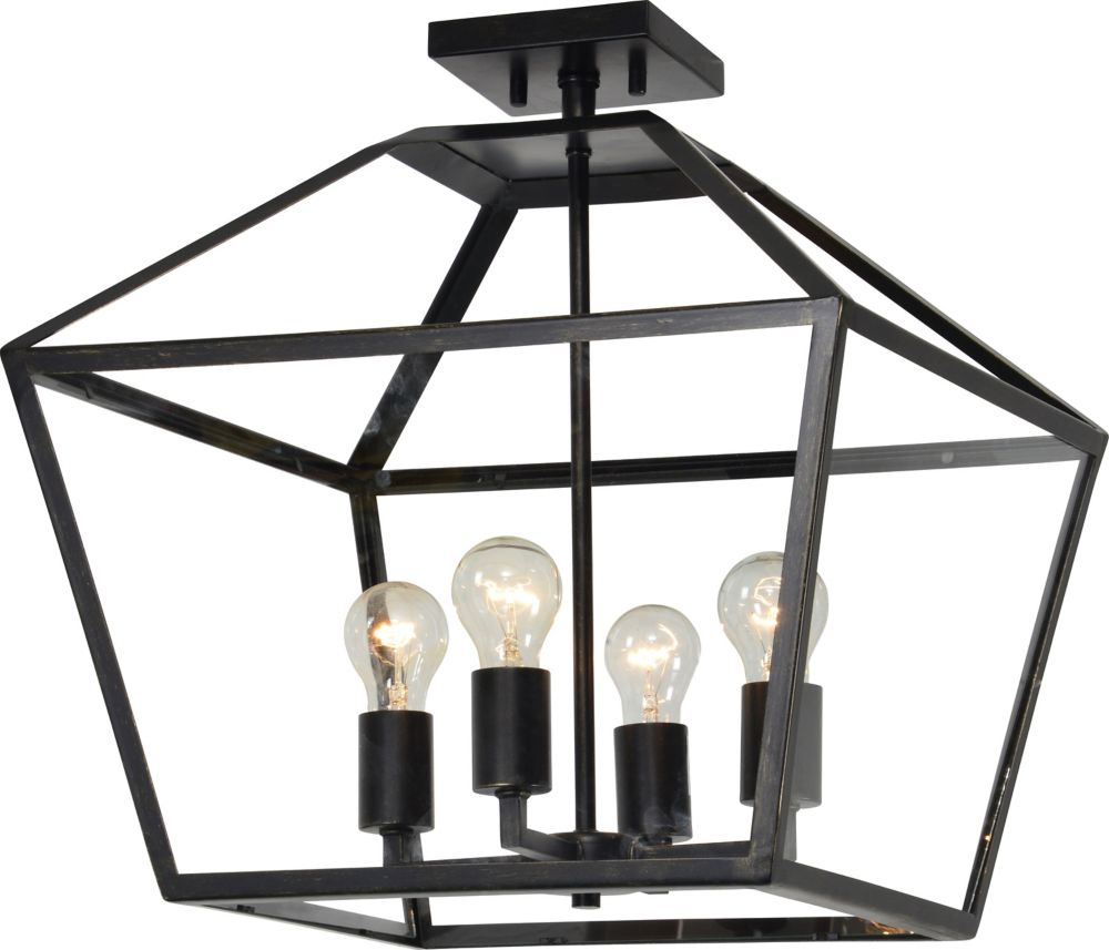 Renwil Aster 4-Light 60W Black and Gold Pendant