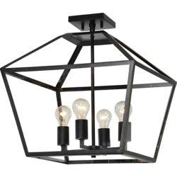 Notre Dame Design Aster 4-Light 60W Black and Gold Pendant