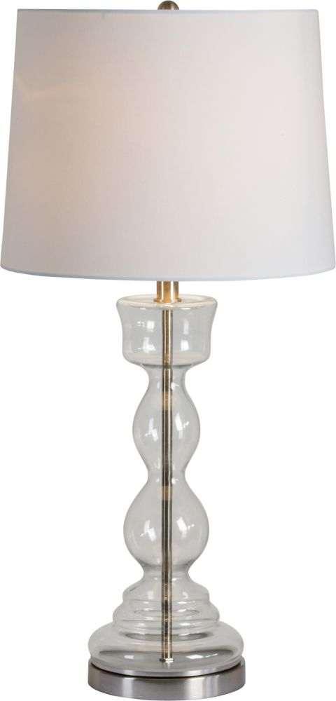 Renwil Dunton 30 Inch Satin Nickel Table Lamp With Tetron Cotton