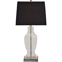 Renwil Ashton 30-Inch Satin Nickel Table Lamp With Tetron Cotton Shade
