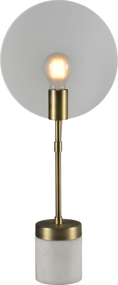Renwil Albion 22-Inch Antique Brass Table Lamp With Glass Shade