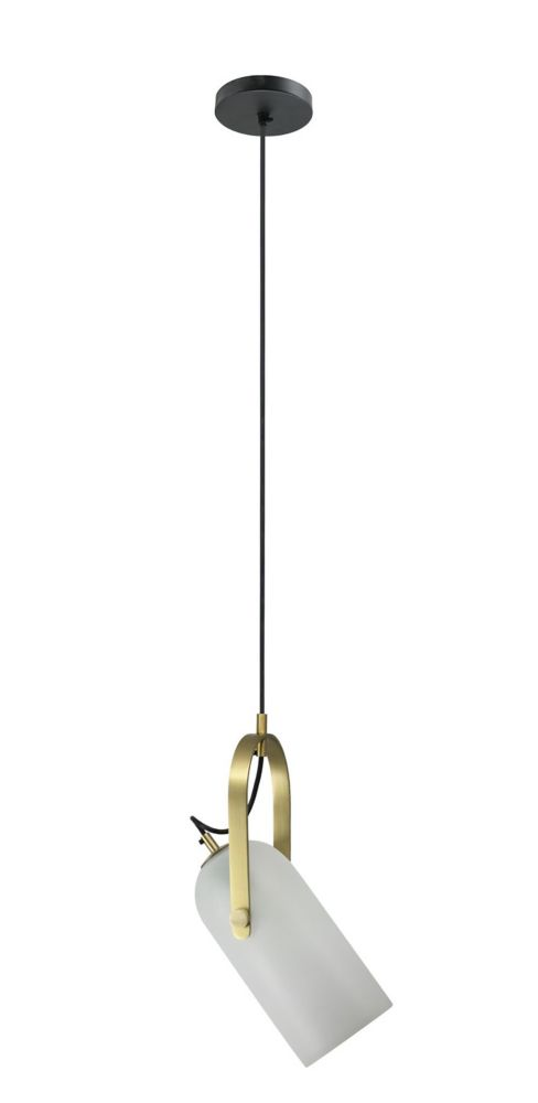 Renwil Kenley 1-Light 25W White and Brass Pendant