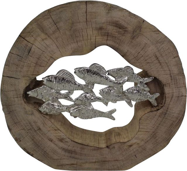Renwil Pesce Decorative Sculpture in Silver and Brown