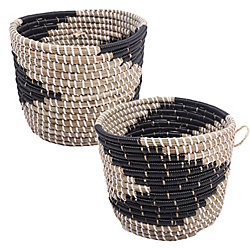 Renwil Delphine Seagrass Decorative Basket in Black and White, (Set of 2)