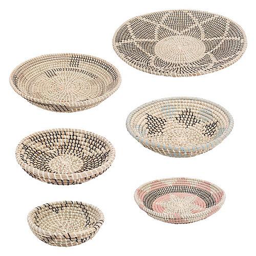"""Panier décorative """"Elmina"""" en noir, blanc, beige, Turquoise et Pêche (ensemble de 7-pièces)"""