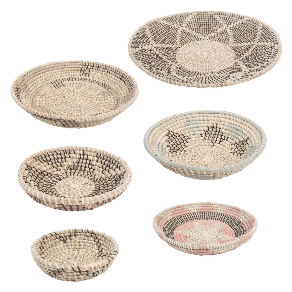 Renwil Elmina Seagrass Decorative Basket in Black, White, Beige, Turquoise and Peach, Set of 7