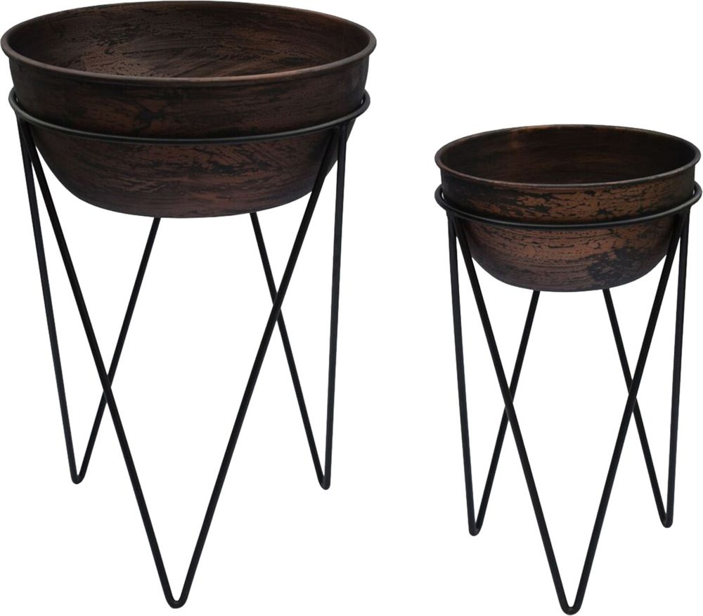 Renwil Elsa Iron Decorative Planter in Copper Antique and Black, (Set of 2)
