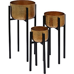 Notre Dame Design Lebren Iron, Hammered Decorative Planter in Brass and Black, (Set of 2)
