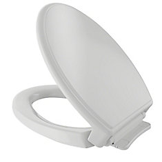 Traditional SoftClose Non Slamming, Slow Close Elongated Toilet Seat and Lid, Colonial White