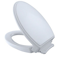 Traditional SoftClose Non Slamming, Slow Close Elongated Toilet Seat and Lid, Cotton White