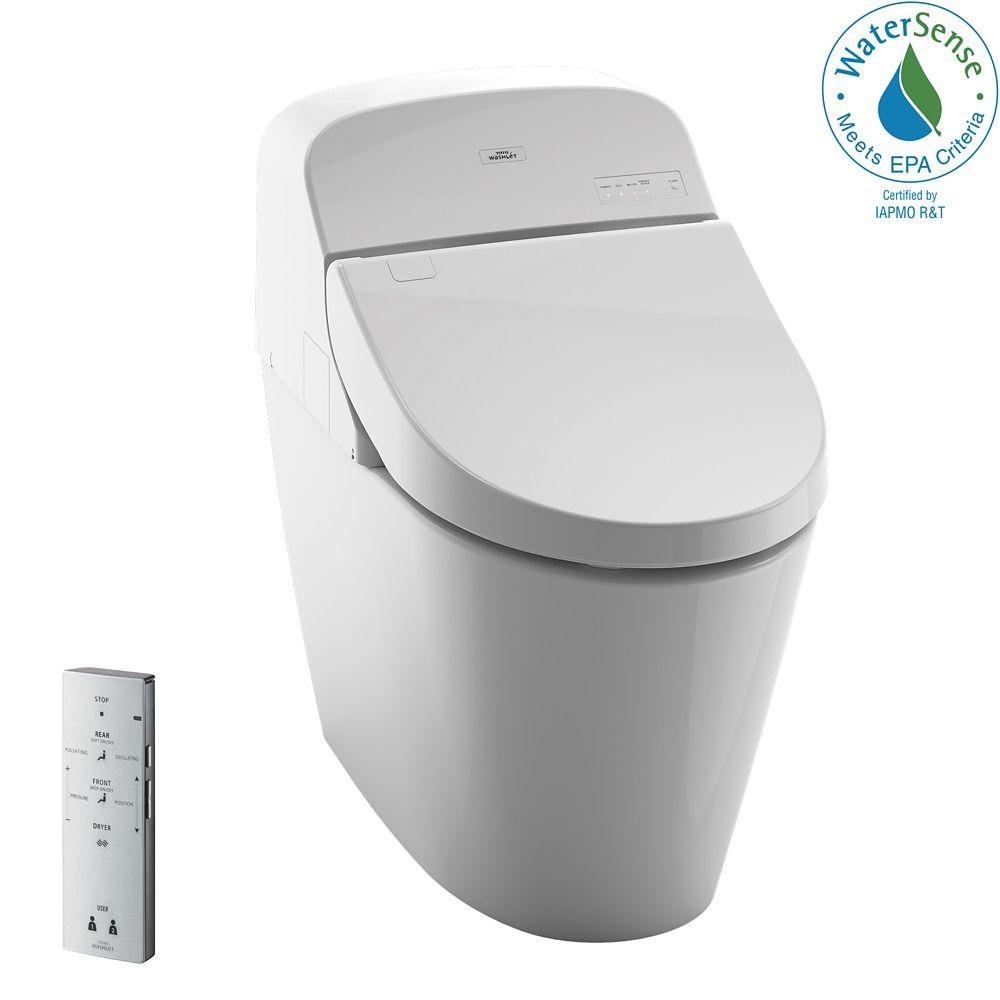 TOTO Washlet G400 Bidet Seat with Integrated Dual Flush 1.28 or 0.9 GPF Toilet w/Premist, Cotton White