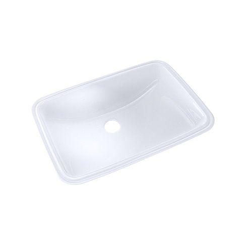 TOTO 19 inch x 12-3/8 inch Rectangular Undermount Bathroom Sink with CeFiONtect, Cotton White