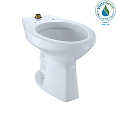 Elongated 1.0 GPF Floor-Mounted Flushometer ADA Compliant Toilet Bowl with Top Spud, Cotton White