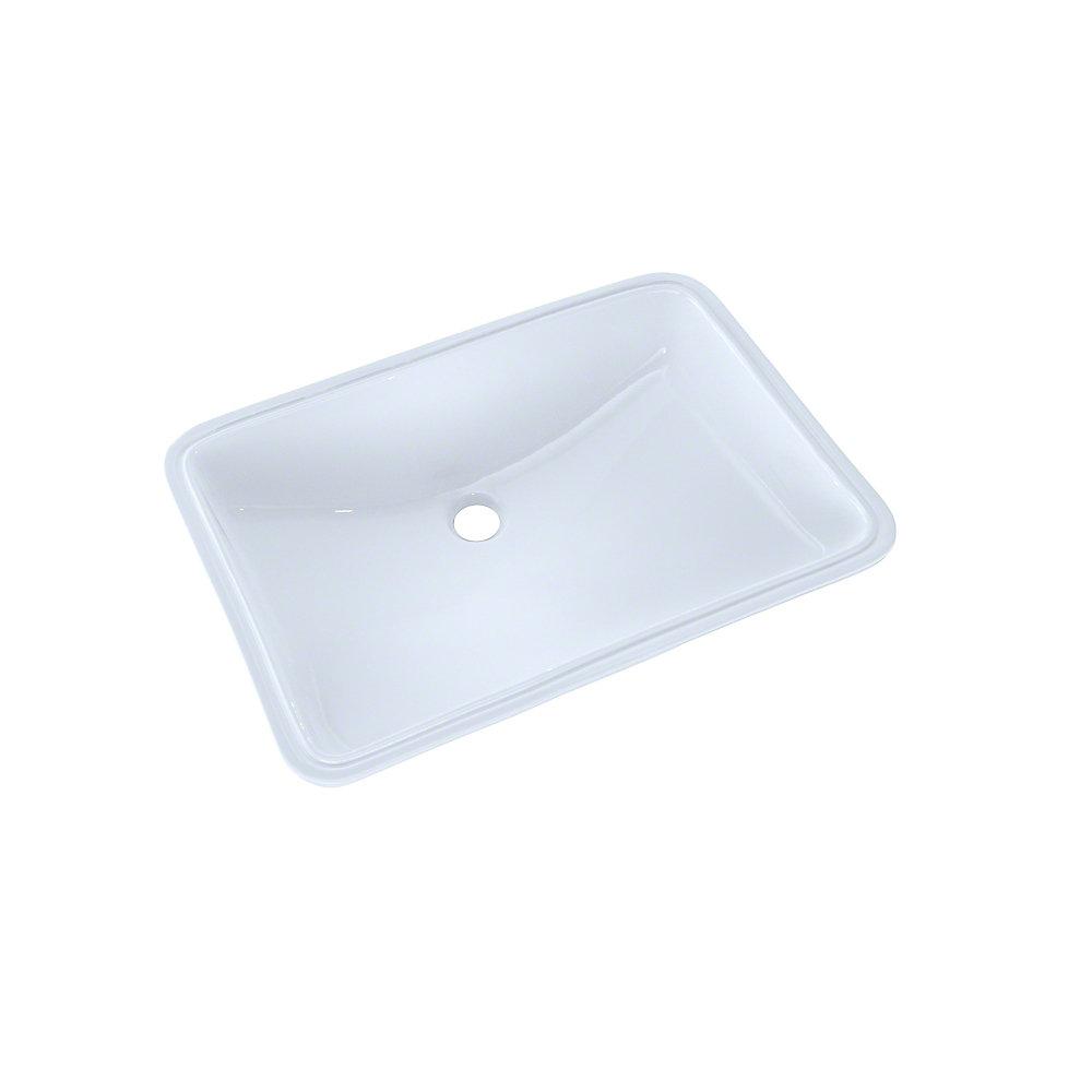 21-1 / 4 x 14-3 / 8 Grand évier de salle de bain rectangulaire sous le  comptoir, coton blanc