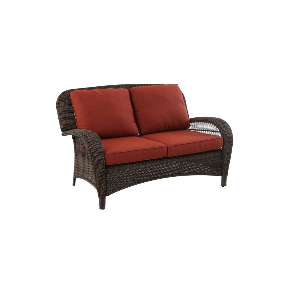 Hampton Bay Beacon Park Steel Woven Loveseat Orange Cushions