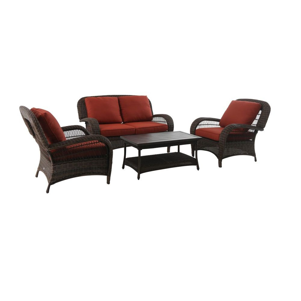 Hampton Bay Beacon Park Steel 4 Piece Deep Seating Set Orange - Online Only