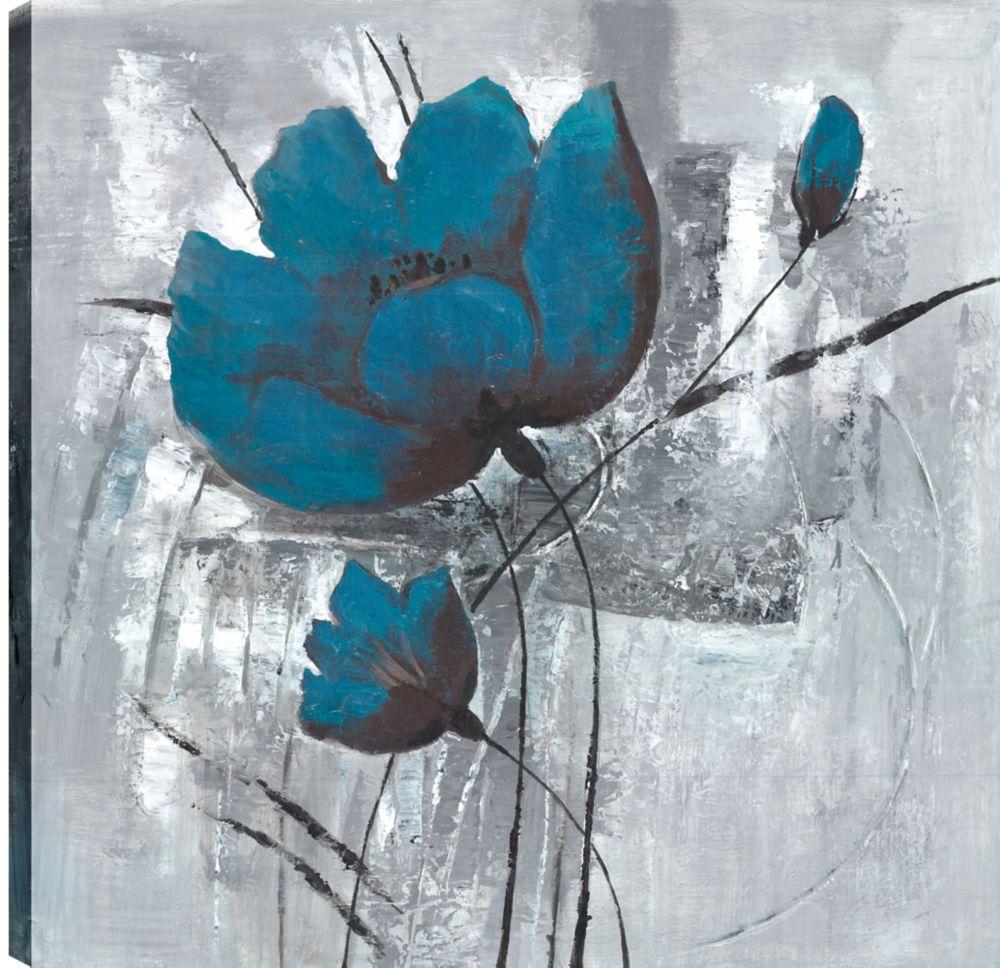 Art Maison Canada Blue Florals III, Floral Art, Printed Canvas Unframed
