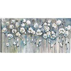 Blanc coquelicots, Art Floral, imprimé toile sans cadre par