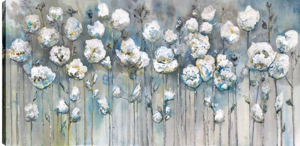 Art Maison Canada White Poppies, Floral Art, Printed Canvas Unframed