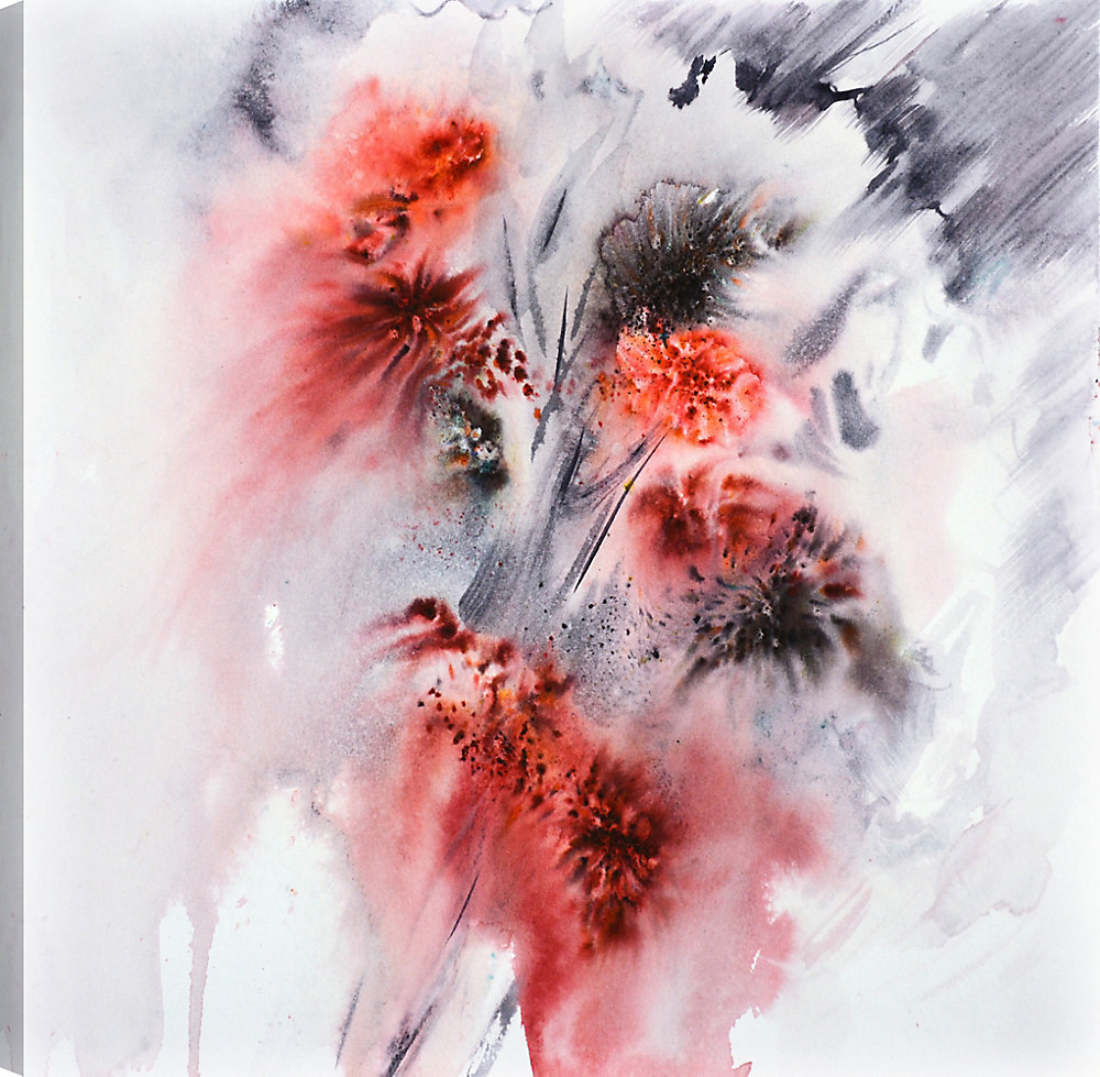 The Red Flowers I, Abstract Art,  Printed Canvas Wall Art