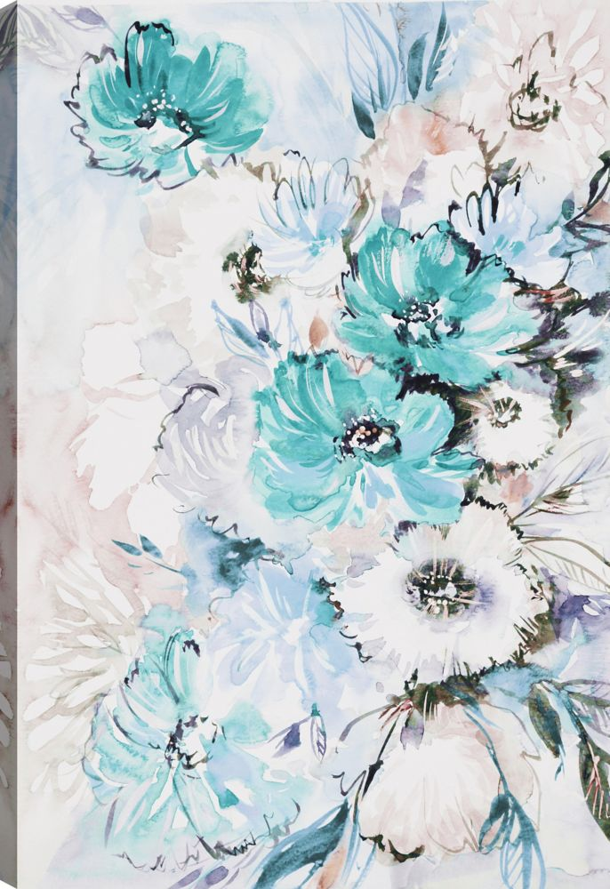 Art Maison Canada The Blue Flowers I, Floral Art,  Printed Canvas Wall Art
