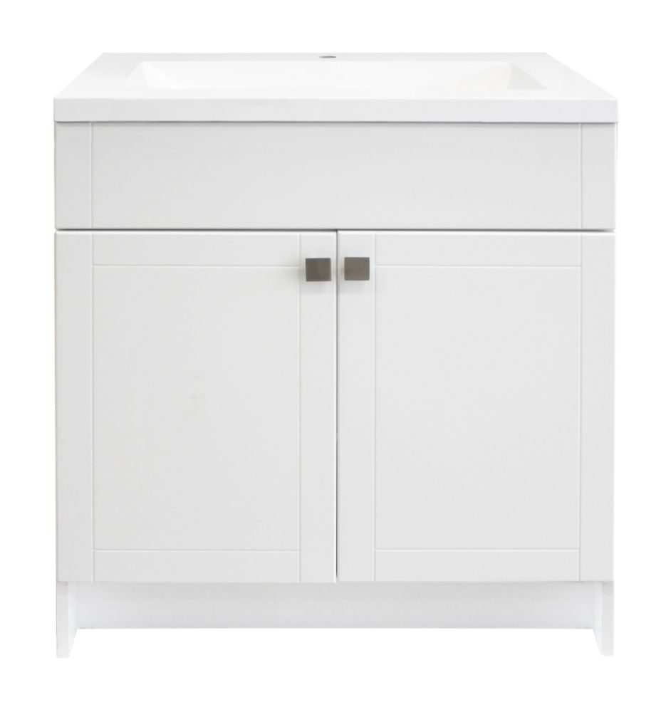 Manchester 30 Inch Shaker Vanity Cabinet In White With