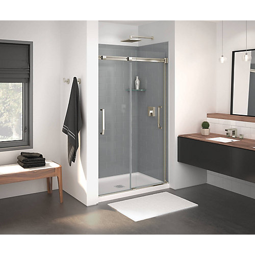 Inverto 43-47 inch x 74 inch Sliding Shower Door in Brushed Nickel