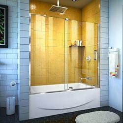 DreamLine Mirage-Z 56-60 inch W x 58 inch H Frameless Sliding Tub Door in Chrome
