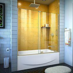 DreamLine Mirage-Z 56-60 inch W x 58 inch H Frameless Sliding Tub Door in Brushed Nickel