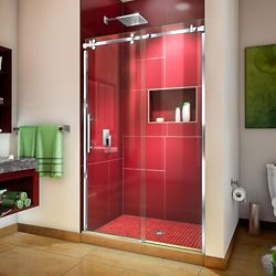 DreamLine Enigma Sky 44-48 inch W x 76 inch H Sliding Shower Door in Polished Stainless Steel
