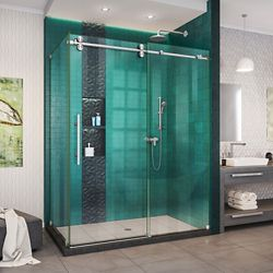 DreamLine Enigma-XO 32 1/2 inch D x 50-54 inch W x 76 inch H Shower Enclosure in Brushed Stainless Steel