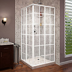 French Corner 34 1/2 inch D x 34 1/2 inch W x 72 inch H Framed Sliding Shower Enclosure in White