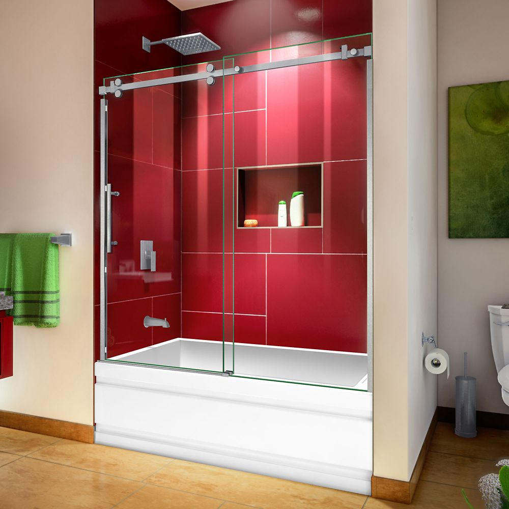 DreamLine Enigma Sky 56-60 inch W x 62 inch H Frameless Sliding Tub Door in Brushed Stainless Steel