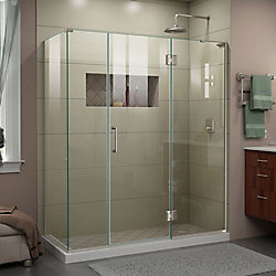 DreamLine Unidoor-X 64 inch W x 34 3/8 inch D x 72 inch H Frameless Enclosure in Brushed Nickel