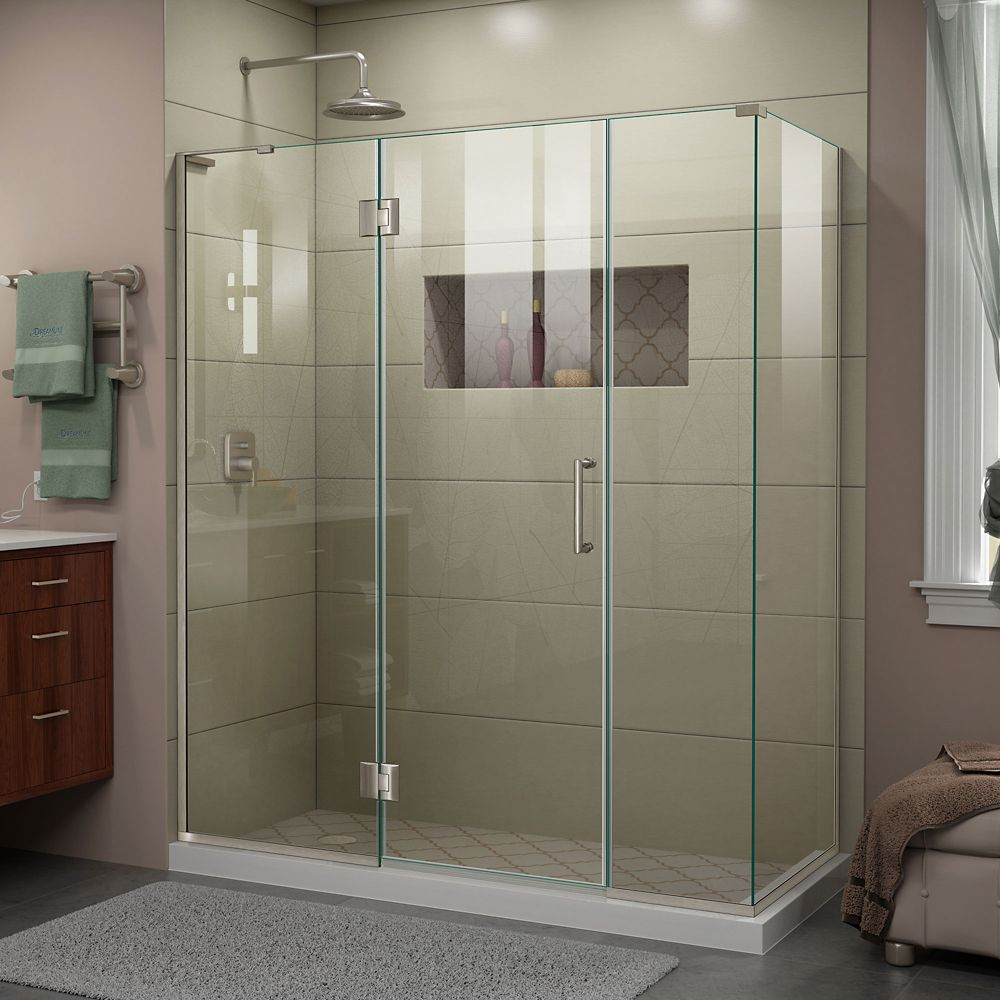 DreamLine Unidoor-X 64 inch W x 30 3/8 inch D Frameless Enclosure in Brushed Nickel Finish